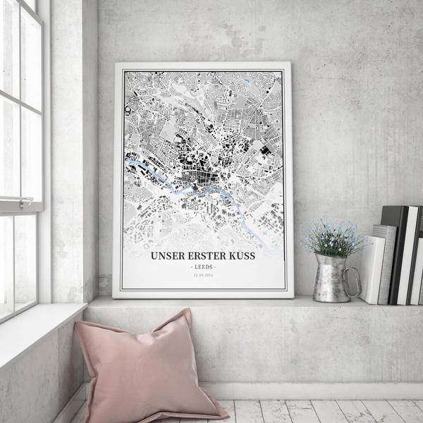 Stadtkarte Leeds im Stil Schwarzplan