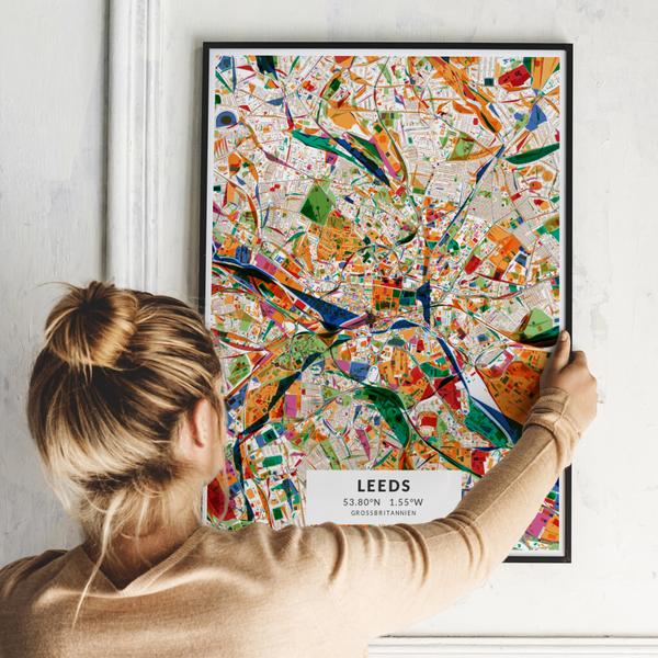 City-Map Leeds im Stil Kandinsky