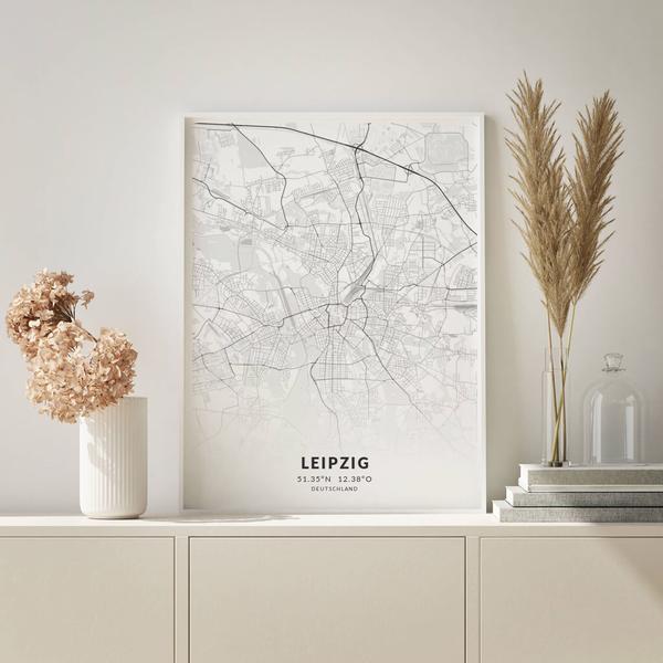 City-Map Leipzig im Stil Elegant