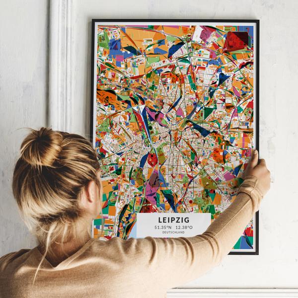 City-Map Leipzig im Stil Kandinsky