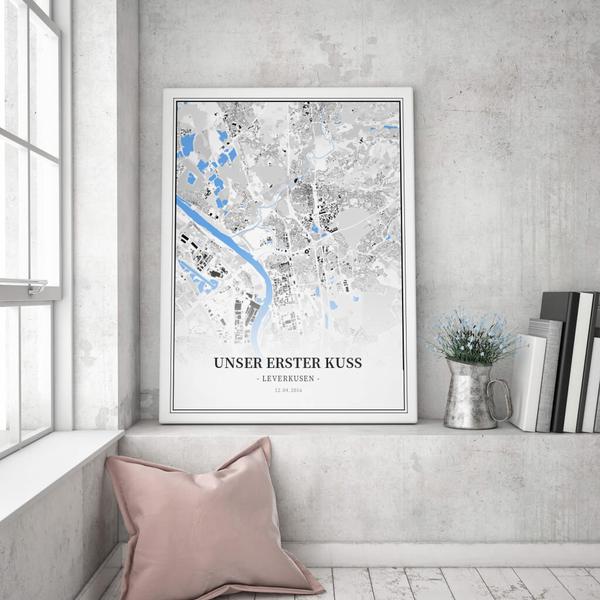 Stadtkarte Leverkusen im Stil Schwarzplan