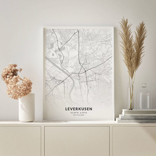 City-Map Leverkusen im Stil Elegant