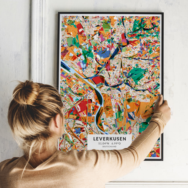 City-Map Leverkusen im Stil Kandinsky