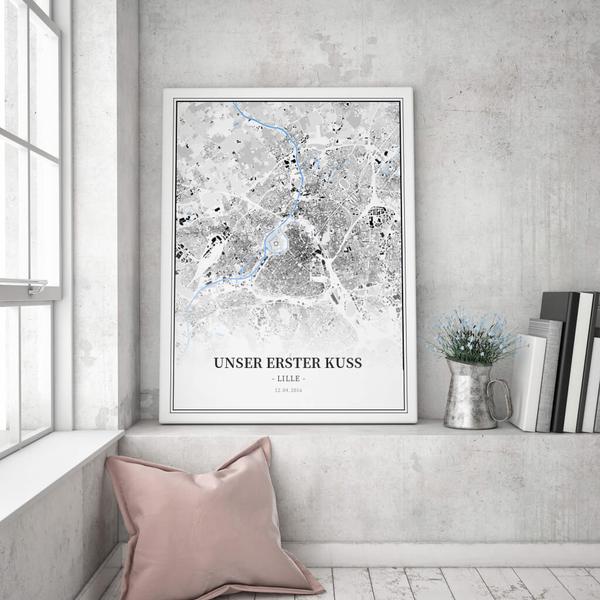 Stadtkarte Lille im Stil Schwarzplan