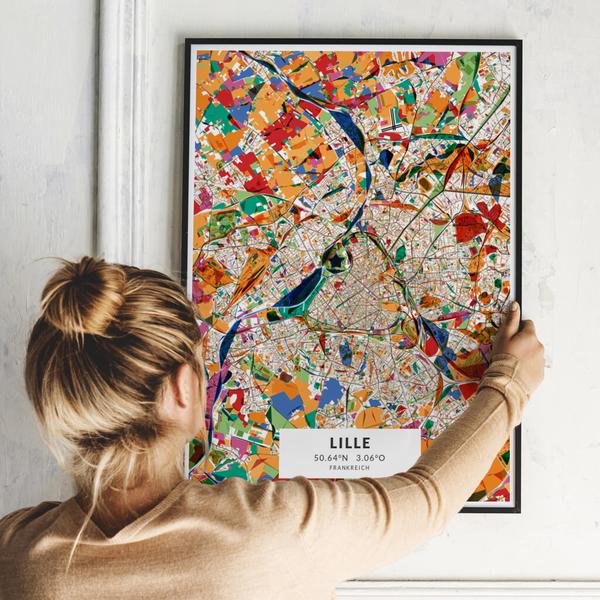City-Map Lille im Stil Kandinsky