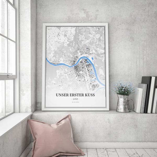 Stadtkarte Linz im Stil Schwarzplan