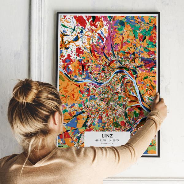 City-Map Linz im Stil Kandinsky