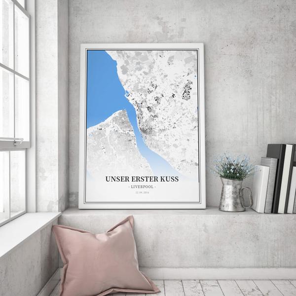Stadtkarte Liverpool im Stil Schwarzplan