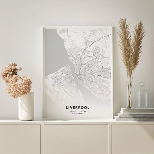City-Map Liverpool im Stil Elegant