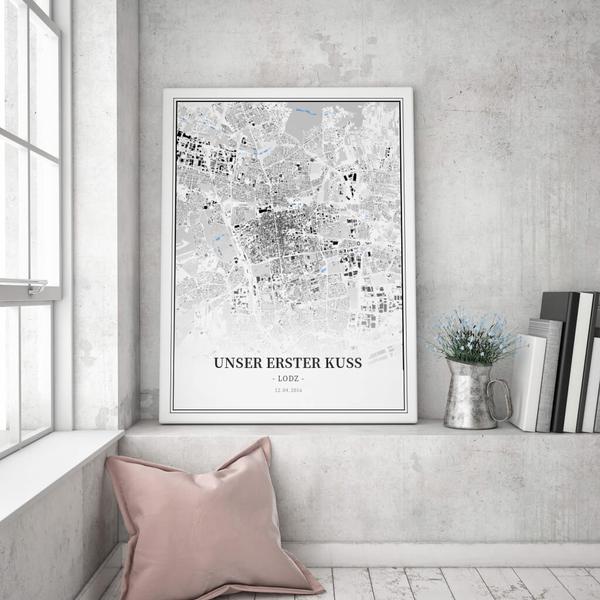 Stadtkarte Lodz im Stil Schwarzplan