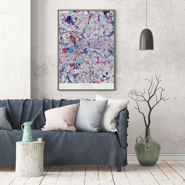 Stadtkarte London im Stil Primavera