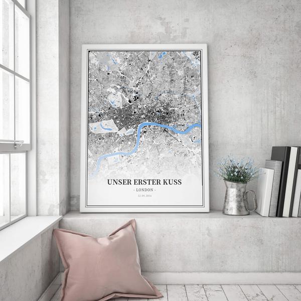 Stadtkarte London im Stil Schwarzplan