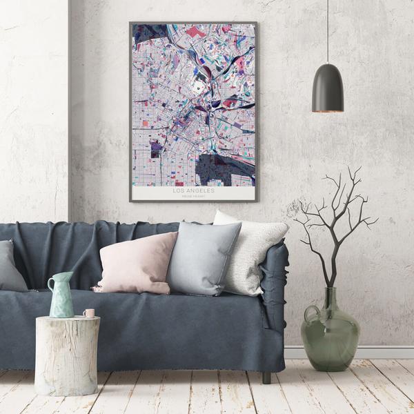 Stadtkarte Los Angeles im Stil Primavera