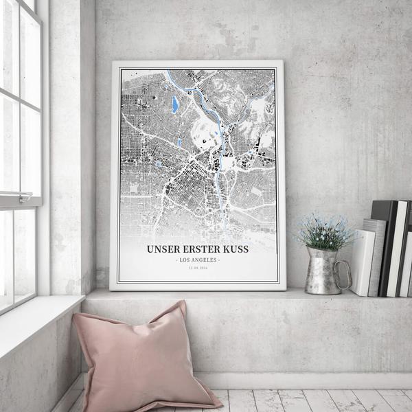 Stadtkarte Los Angeles im Stil Schwarzplan