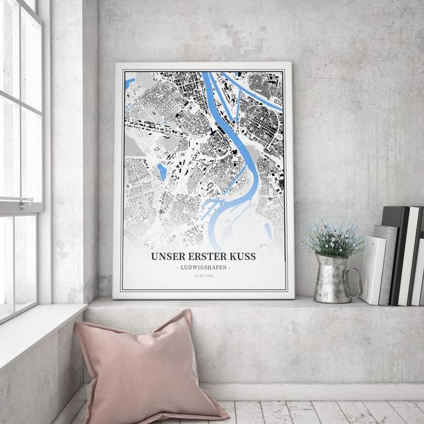 Stadtkarte Ludwigshafen im Stil Schwarzplan