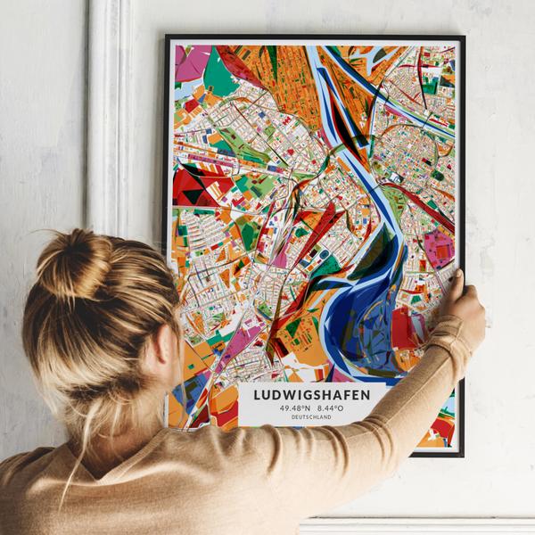 City-Map Ludwigshafen im Stil Kandinsky