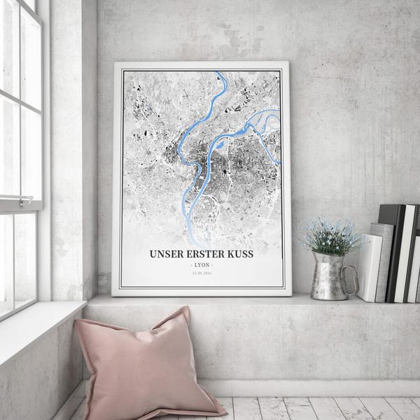 Stadtkarte Lyon im Stil Schwarzplan