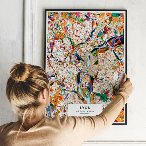 City-Map Lyon im Stil Kandinsky