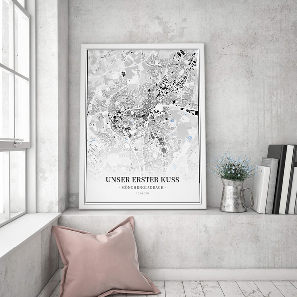 Stadtkarte Mönchengladbach im Stil Schwarzplan