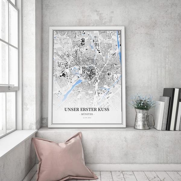 Stadtkarte Münster im Stil Schwarzplan