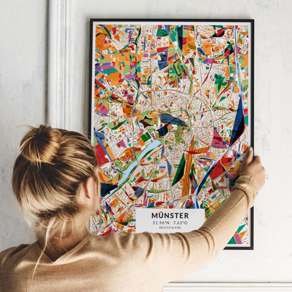 City-Map Münster im Stil Kandinsky