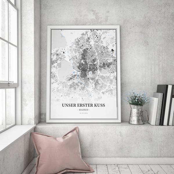 Stadtkarte Madrid im Stil Schwarzplan