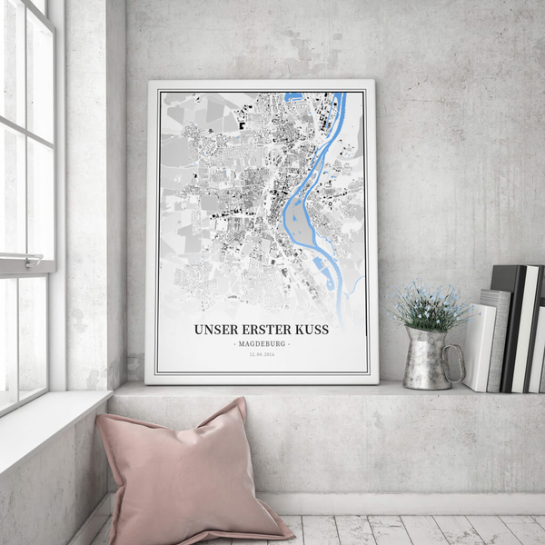 Stadtkarte Magdeburg im Stil Schwarzplan