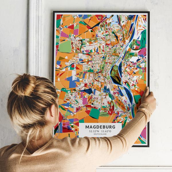 City-Map Magdeburg im Stil Kandinsky