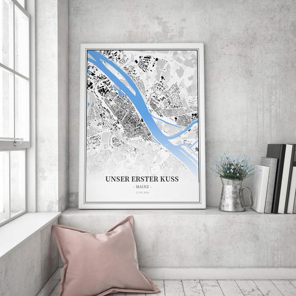 Stadtkarte Mainz im Stil Schwarzplan