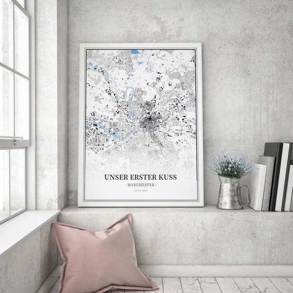 Stadtkarte Manchester im Stil Schwarzplan