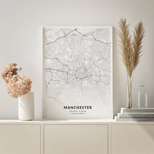 City-Map Manchester im Stil Elegant