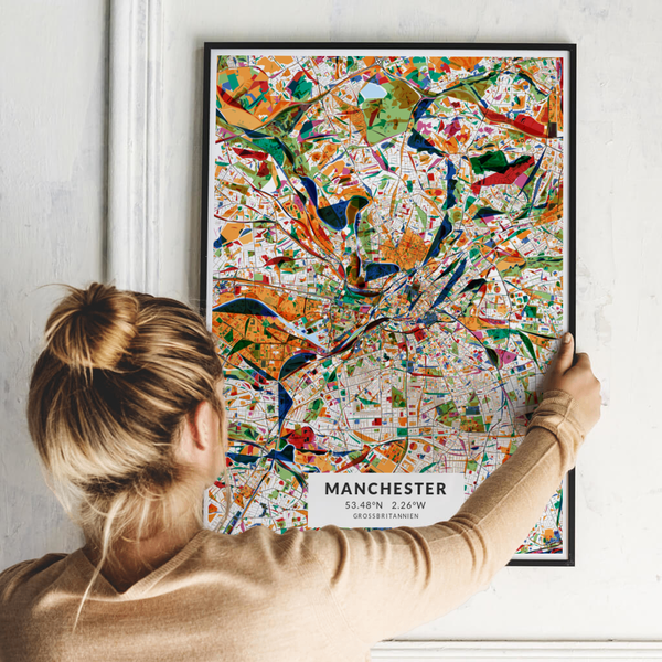 City-Map Manchester im Stil Kandinsky