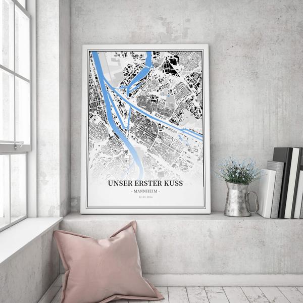 Stadtkarte Mannheim im Stil Schwarzplan