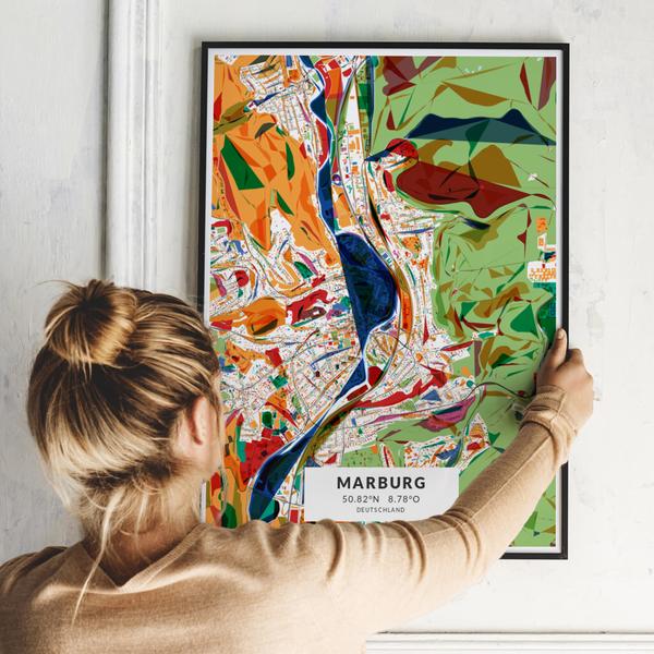 City-Map Marburg im Stil Kandinsky