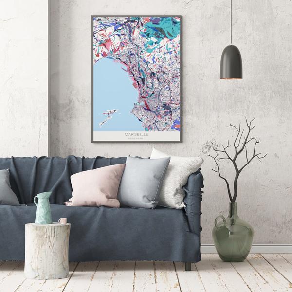 Stadtkarte Marseille im Stil Primavera