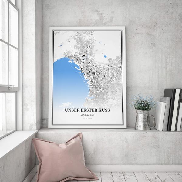 Stadtkarte Marseille im Stil Schwarzplan