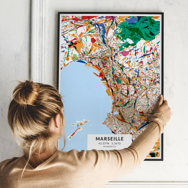 City-Map Marseille im Stil Kandinsky