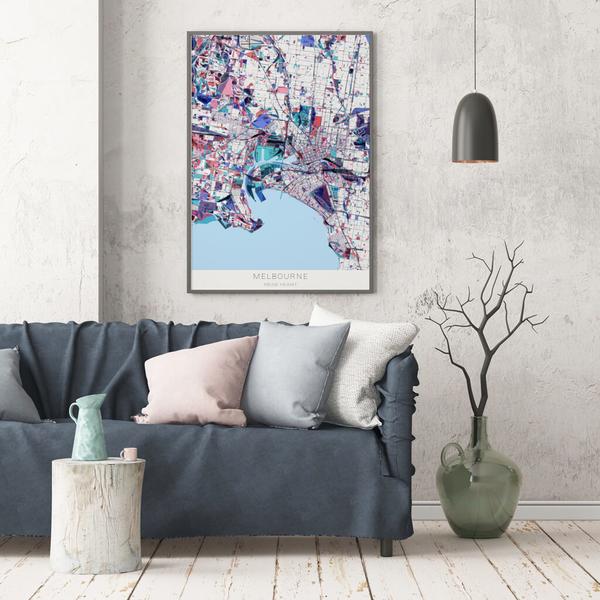 Stadtkarte Melbourne im Stil Primavera