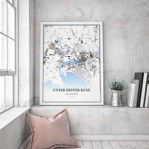 Stadtkarte Melbourne im Stil Schwarzplan