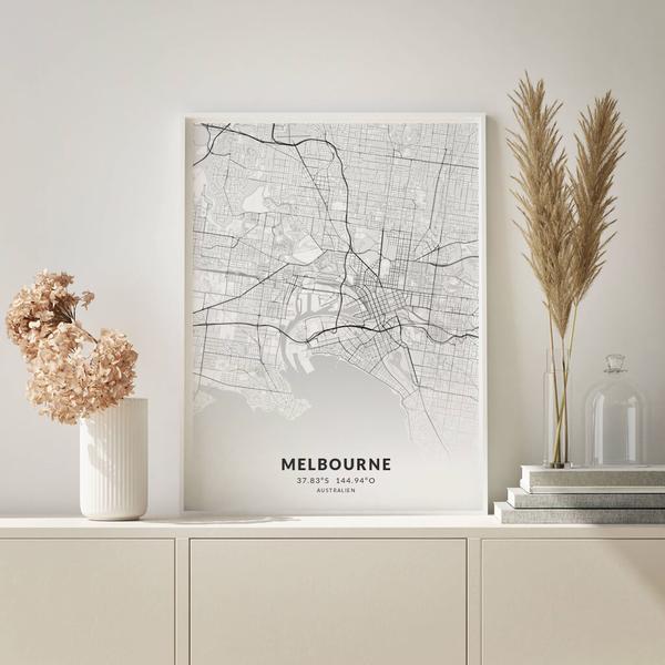 City-Map Melbourne im Stil Elegant