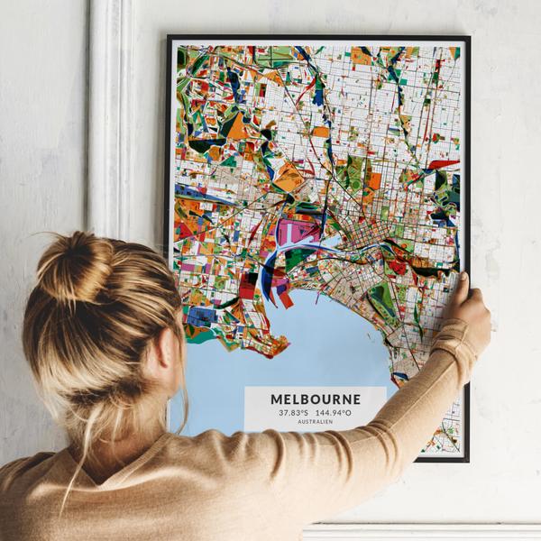 City-Map Melbourne im Stil Kandinsky
