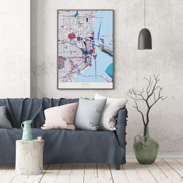 Stadtkarte Miami im Stil Primavera