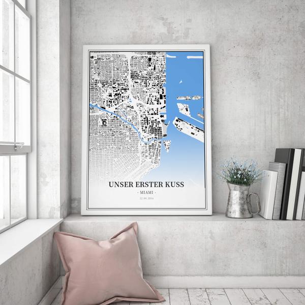 Stadtkarte Miami im Stil Schwarzplan