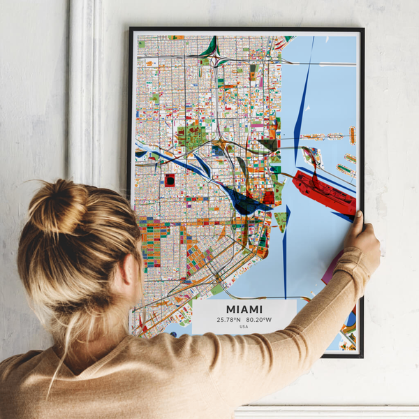 City-Map Miami im Stil Kandinsky