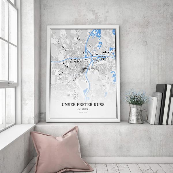 Stadtkarte Minden  im Stil Schwarzplan