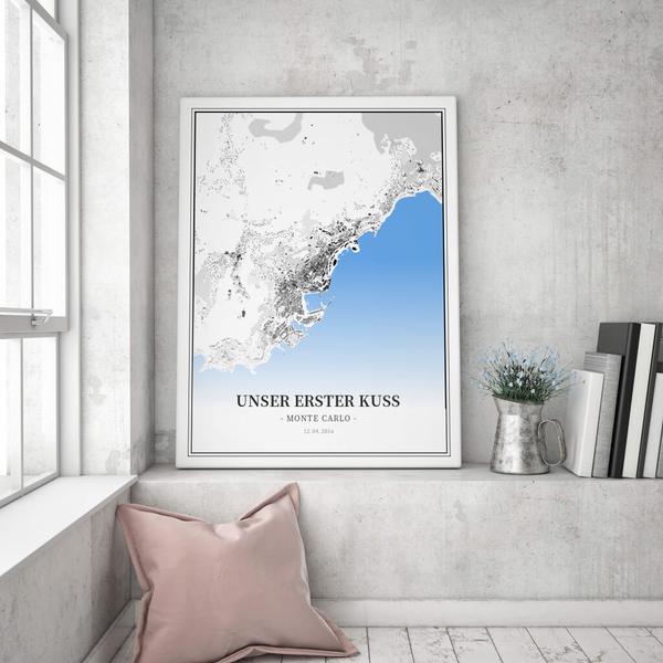 Stadtkarte Monte Carlo im Stil Schwarzplan
