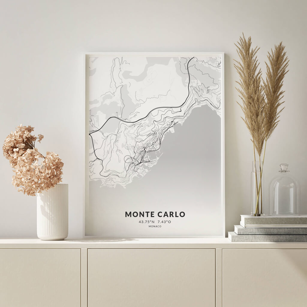 City-Map Monte Carlo im Stil Elegant