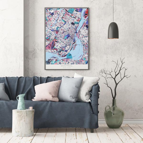 Stadtkarte Montreal im Stil Primavera