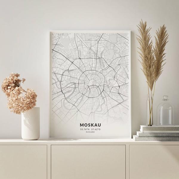 City-Map Moskau im Stil Elegant