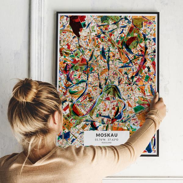 City-Map Moskau im Stil Kandinsky
